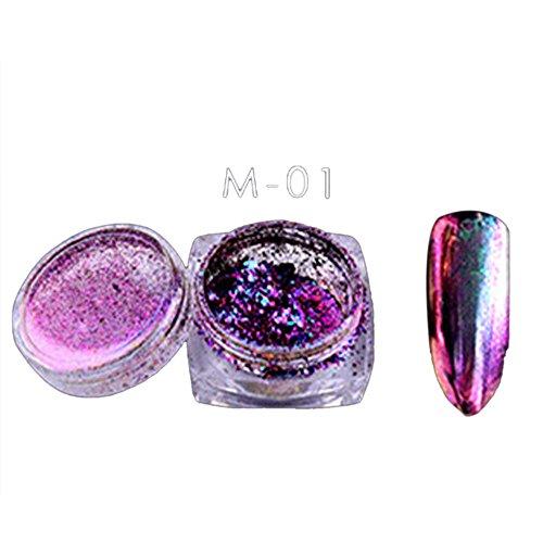 6 Spiegeleffekt, Glitzer-Chrom, Puder, Super-Glanz-Pigment Farben Pulver Flocken Nagel Bling Spiegel Schimmer Nail Art Glitter Decora Nagelpuder, ultradünn, mehrfarbig, holografisch, Nagelkunst Pulver -