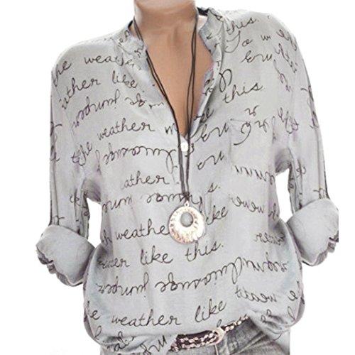Xiantime Damen Langarmshirt Freizeit V-Ausschnitt Manschetten-Ärmel Locker Punkte Taschen Shirt Bluse S-5XL -