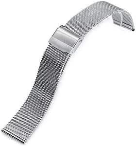 Cinturino per orologio da polso con cinturino 18mm, 20mm o 22mm Cinturino in maglia metallica superfine vintage lavorato a maglia classico, lucidato