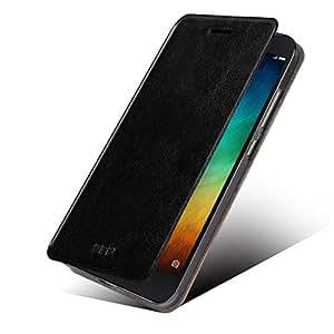 MOFI RUI Series Premium Leather Flip Case Cover with Stand Design for Xiaomi Mi4i   Mi 4i [Black Colour] - Free Screen Guard