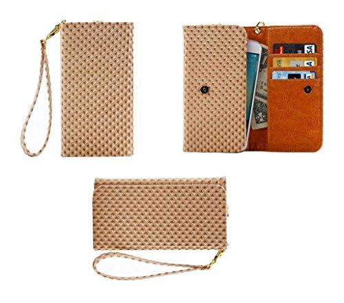 Beige Panther (DFV mobile - Etui Tasche Schutzhülle mit Designperle Rasterfeld Gewebe mit Kartenfächer für => iBall Andi 5K Panther > Beige)