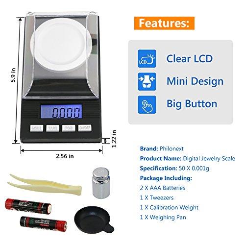 comprare on line Philonext Bilancia Digitale Milligrammi 50 X 0.001g - Mini bilancia digitale tascabile con calibrazione del peso, pinzetta e base di pesatura prezzo