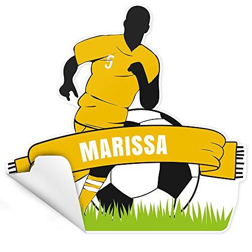 Eurofoto Tür-Aufkleber mit Namen Marissa und Fußball-Motiv gelb für Mädchen | Sticker für das Kinderzimmer | Größe: ca. 25x25cm