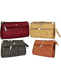 Rapid Costore Pu Leather Women's & Girls Combo Of 4 Clutches - Maroon Pink Tan Black