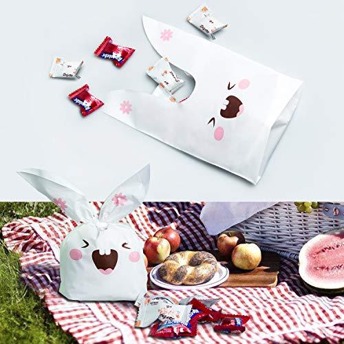 ARTMOVA 100 Pezzi Sacchetti Compleanno,Sacchetto per Caramella Confetti Borsa di Regalo Sacchetto Coniglietto di Forma del Coniglio Sacchetti di Biscotto - 7