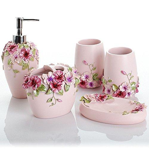Bagno di resina 5 Pezzo Euro-Continental Vanity Kit da bagno Articoli da bagno Articoli da toeletta di nozze nel kit