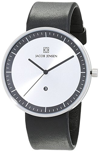 Jacob Jensen Strata Men's Quartz Watch with Silver Dial Analogue Display and Black Leather Strap 270