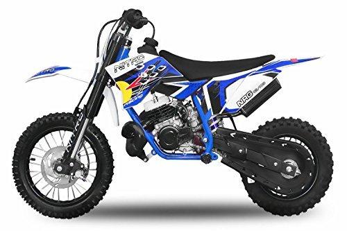 "Dirtbike 49cc NRG 50 12""/10"" RS Neues Design Cross Pocket Bike ATV Kinderfahrzeug (Blau)"