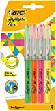 BIC Highlighter Flex Surligneurs à Pointe Souple et Flexible - Couleurs Fluo Assorties, Blister de 4