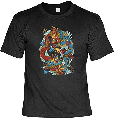 Asia Shirt /T-Shirt/Baumwoll-Shirt lässiger fernöstlicher Aufdruck: Yin Yang - cooles Motiv Schwarz