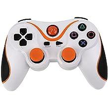YFisk Funda Carcasa de Silicona para PS3 Gamepad Controlador Blanco y Naranja