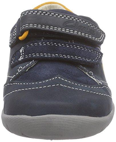 Clarks Kids Softlyliam Fst, Baskets premiers pas mixte bébé Bleu (Navy Leather)