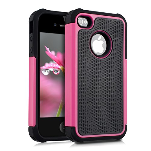 kwmobile Hülle für Apple iPhone 4/4S - Hybridhülle Dual Case Handy Schutzhülle TPU Silikon - Hybrid Cover Pink (Case 4 Pink Iphone)