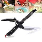Hachoir à 2en 1planche à découper et couteau de cuisine Ciseaux Cutter Cuisine Outils légumes fruits Couteau de Coupe