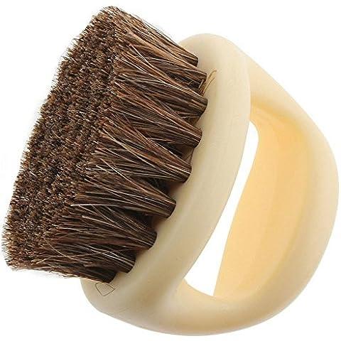 Gosear Mini Portable Zapatos Limpieza Cepillo de Pelo de Caballo para Polvo de Pulido Cuero de Zapato,Forma Ronda