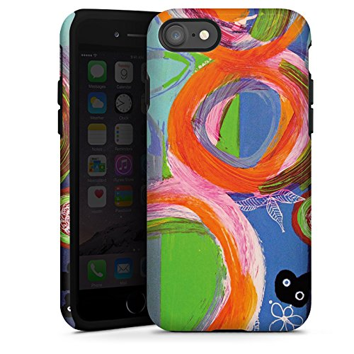 Apple iPhone X Silikon Hülle Case Schutzhülle Abstrakt Muster Kreise Tough Case glänzend