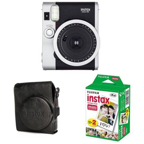 Fujifilm - Instax Mini 90 NEO Classic - Appareil Photo à Impression Instantanée - Noir + 2x10 films + Housse - Appareil Photo