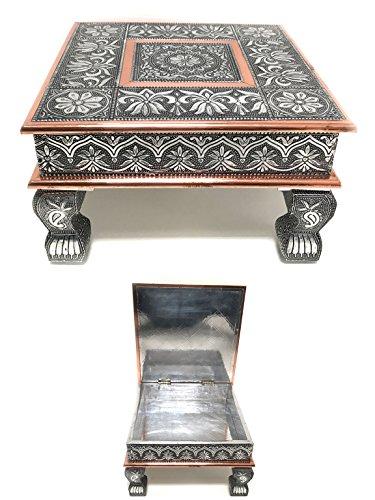 Eradius 38,1x 38,1cm storage rame ossidato bajot tavolo tavolino piccolo bajath bajot chowkie caffè diserbo puja tavolo da campeggio storage