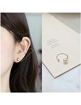 KnSam Paar Damen Ohrclip aus Versilbert Ohrklamme Perle Ohrringe für Frauen Silber [Neuheit Ohrschmuck]