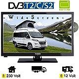 Telefunken L24H274DVD LED Fernseher 24 Zoll 61 cm WideScreen Display, TV mit DVB-S /S2, DVB-T2, DVB-C, DVD, USB, Energieeffizienzklasse A + , 12Volt 230V
