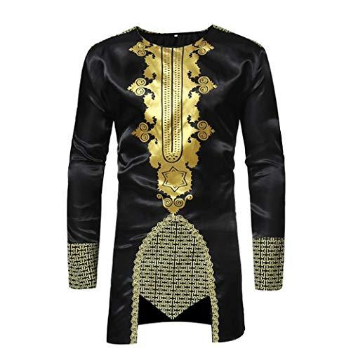 BaZhaHei Herren Langarm African Dashiki Herren Traditionelle National Hot Gold Printed Langarm-Shirt Drucken Lange ÄrmelT-Shirt Mittlerer und Langer Abschnitt