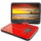 WONNIE 12.5' Lecteur DVD Portable avec écran Rotatif de 10,5' à 270°, Carte SD et Prise USB avec Charge directe Formats/RMVB/AVI / MP3 / JPEG, (Rouge)
