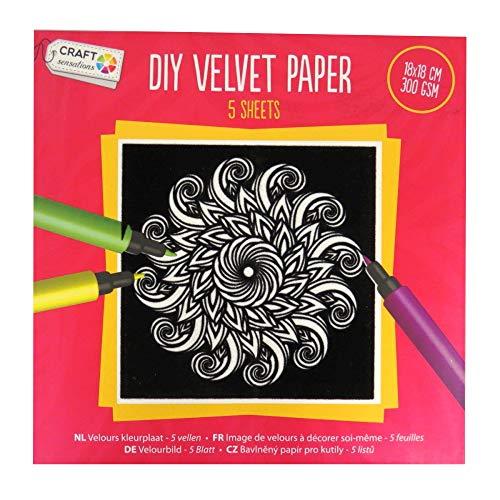 Craft Sensations - Lot de 5 feuilles de papier de coloriage carrées en velours rouge 180 mm, design individuel