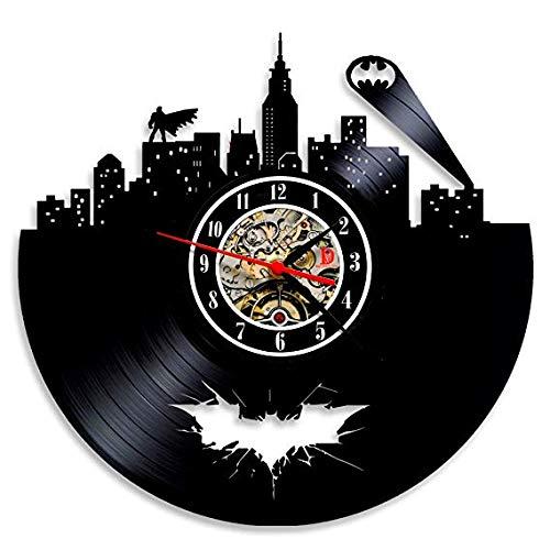 Hot Vinyl Evolution Batman Arkham City Logo Wanduhr Dekorieren Sie Ihr Zuhause Mit Modernen, Großen Superhelden, Kunstgeschenk Für Freunde, Männer Und Jungen (Die Evolution Von Batman)