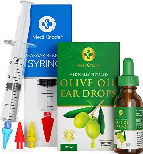 Medi Grade Spritzen - Set mit Olivenöl-Spray und 3 x Sanften Quad-Stream Spitzen - Wiederverwendbare Ohrenschmalz Entferner - Ohr Reinigung von Zuhause aus - Ohrenschmalz Entfernen und Besser Hören