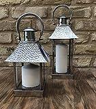 Home Deco London LTD da Lanterna in Acciaio Inox, Candela Lanterna, Matrimonio, Natale, Tea Light, Acciaio Inossidabile, Stainless Steel, Medium 30x11