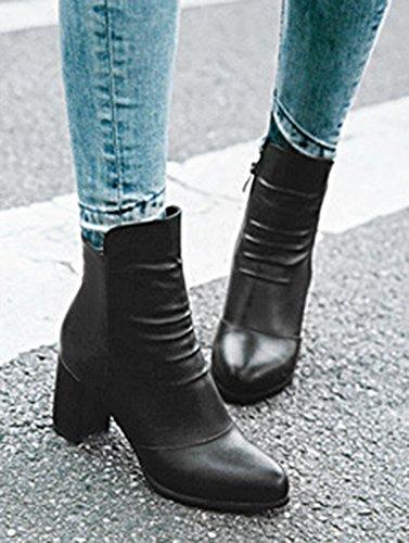 Aisun Femme Mode Fermeture Eclair Bout Rond Bottines Chelsea Noir