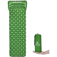 Colchoneta inflable para camping de Hikenture, compacto e impermeable, resistente a la humedad, para excursionismo, tienda de campaña, hamaca, color azul y verde, Green with Pillow