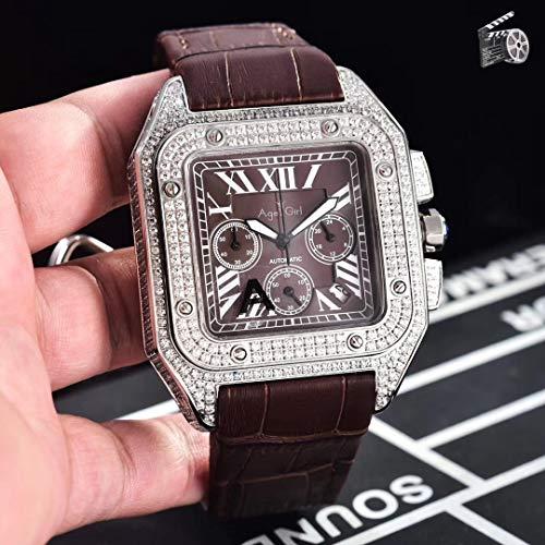 KLMADSB Armbanduhr Herren Uhren Luxusmarke New Chronograph Men Stoppuhr Sapphire Full Iced Diamond Rose Gold Silber Schwarz Braun Leder Classic Watch Brown Coffee