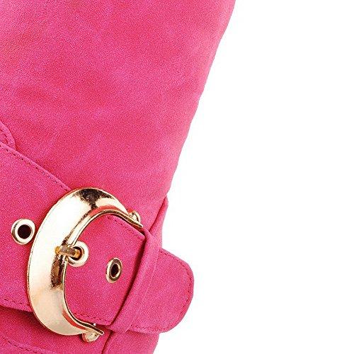 VogueZone009 Damen Hoch-Spitze Ziehen Auf Mattglasbirne Mittler Absatz Rund Zehe Stiefel Pink