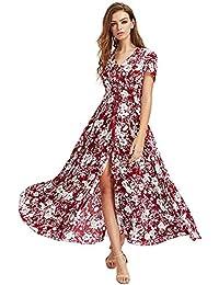 23d48e2172f Robe Longue Femme Boheme Manche 3 4 Été Tunique Col V Fleurie Vintage  Hippie Chic Elegante Mode Imprimé Florale Maxi Robe avec Fente pour…