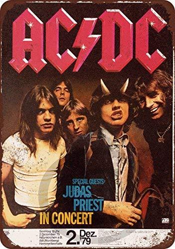 qidushop 1979 Ac/DC und Judas Priest in Deutschland Reproduktion Neuheit Aluminium Blechschild Post Wanddekoration für Herren 20 x 30 cm (Dc Custom)
