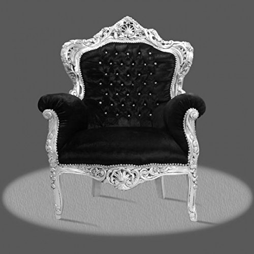 LouisXV Barock Sessel Armlehner Vintage Antik Stil Rokoko Blatt silber Bezug schwarz Diamant...