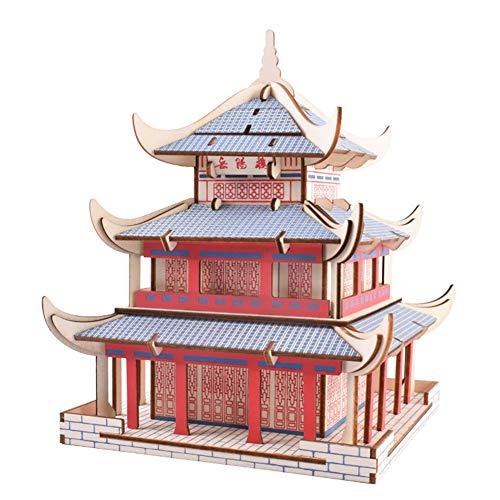 DIY 3D Stereo Laserschneiden Architekturmodell Yueyang Turm Erwachsene Kinder Spaß Montage Spiel Kunsthandwerk Dekoration ()