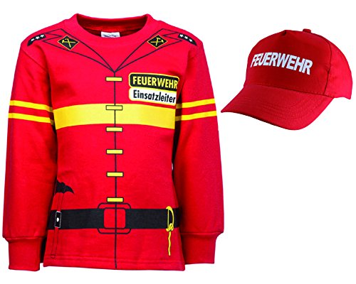 shirt-side gmbh Kinder Feuerwehr Uniform Kostüm 2er Set Sweat + Cap Gr. 92 bis 134 (110/116) (Pilot Kinder Uniform)