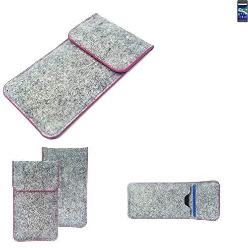 K-S-Trade® Filz Schutz Hülle Für -General Mobile GM 6- Schutzhülle Filztasche Pouch Tasche Case Sleeve Handyhülle Filzhülle Hellgrau Pinker Rand
