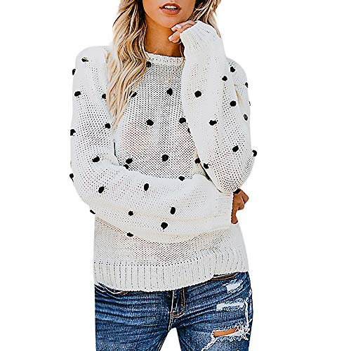 MIRRAY Damen Mode Pullover Gestrickte Solide Dot Ball Langarm Lose Pullover Tops