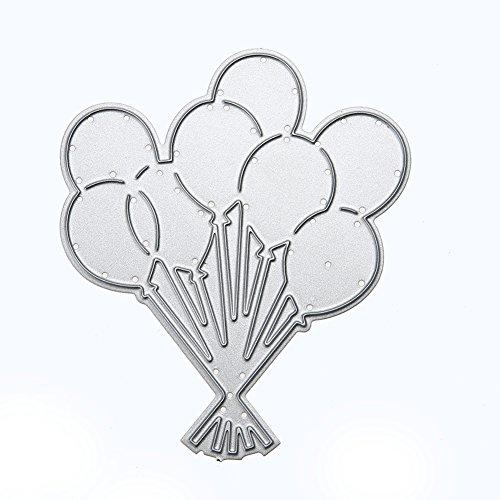 Amazingdeal365 DIY Corte de Decoración de Troquel, Plantilla de Estampado de Arte de Globo de acero al carbono, Color plata
