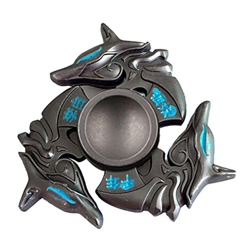 Hand Spinner Fidget, Oyedens Stress Relief Toy alliage Spinner main Fidget Toy Réducteur de stress Made Focus Anxiety Renard Toys for Killing Time (Noir) - 2