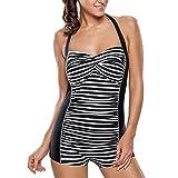 YXINY Bademode Badeanzüge Frauen Bauch Kontrolle Badeanzug, Vintage Einteiler Schwimmen Kostüm für Damen Baden Mädchen Bikinis (Farbe : Black Strips, Größe : XXL)