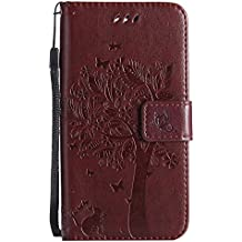Mokyo Flip Wallet Case for LG K8 2017 [with Free Stylus Pen],Premium Soft PU Leather Embossed Cat Butterfly Tree Pattern with [Card Slots][Magnetic Closure][Stand Function] Vintage Slim Folio Book Style 360 Protection Cover Shell + Detachable Hand Strap for LG K8 2017 - Brown