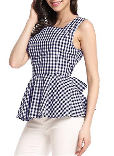 AILIENT Donna Canotta Top A Quadri Senza Maniche Maglietta Popolare Blusa Elegante Camicetta Bluse Slim Fit Canotta Top Classico Blue