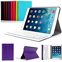 iPad Air 2 Funda con Teclado Bluetooth ,CoastaCloud iPad Air 2 Funda Cubierta Protectora con Teclado Inalambrico QWERTY Español para Apple iPad Air 2 (A1566, A1567)Morado