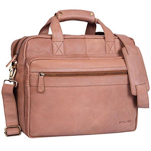 Damen-computer-aktentasche (STILORD 'Adventure' Lehrertasche Herren Damen Aktentasche Office Büro Schulter- oder Umhängetasche Businesstasche für Laptop Leder , Farbe:cognac - hellbraun)