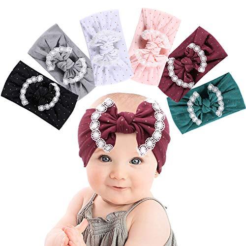 Tacobear Haarband Baby Stirnband Baby Mädchen elastische Haarband Bowknot Kopfband Turban Stirnband Schleife Baby Haarschmuck für Baby Kleinkinder (6 Bowknot Baby Stirnband D)