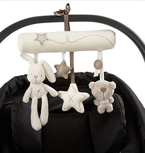 Hangqiao Baby Cute Music Plush Activity Crib Stroller Soft Toys Hanging Rabbit Star Shape